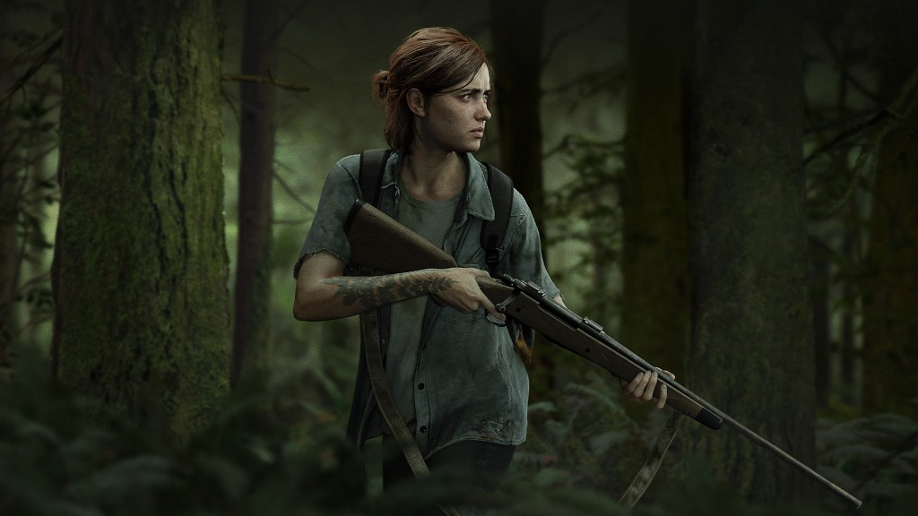 Ellie from The Last of Us Part II. She is holding a gun and is looking to the right, concerned.
