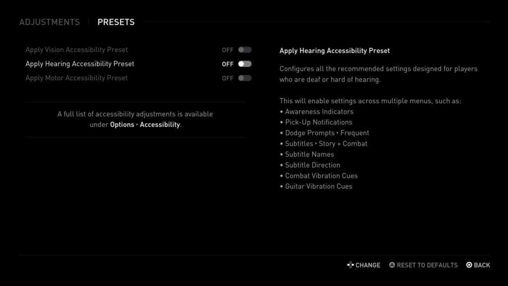 A screenshot of the hearing accessibility preset list.