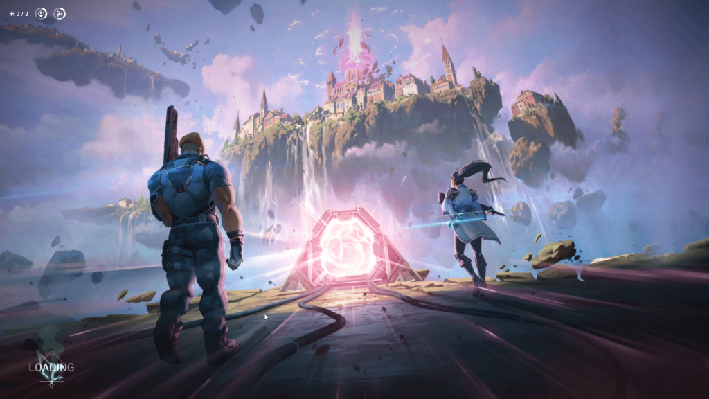 Valorant loading screen. Two people walking toward a portal, an epic city in the sky in front of them.