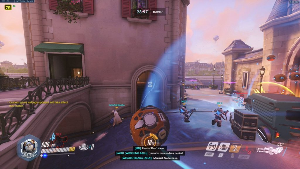 Voicelines are captioned in the bottom center of the screen. Characters are labelled and accents/noises are indicated.