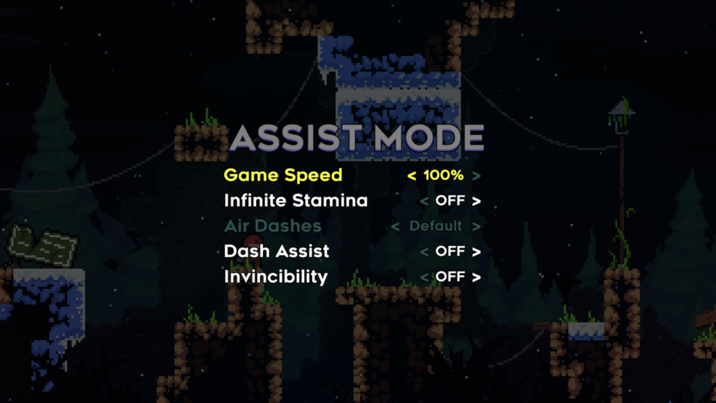 Celeste Assist Mode: Game speed, infinite stamina, air dashes, dash assist, and invincibility.