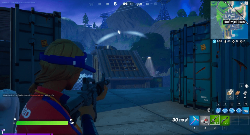 Fortnite, white directional indicator with a footstep showing someone is ahead.